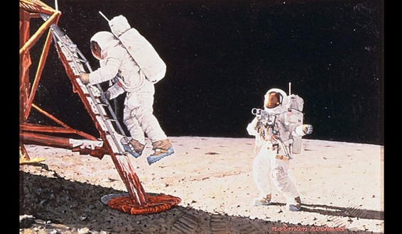 Norman Rockwell Painting - The Final Impossibility: Man's Tracks on the Moon