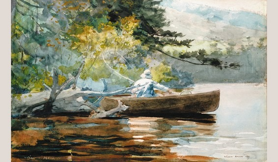 Watercolor of fly fisherman in a boat by Winslow Homer - Casting Number Two