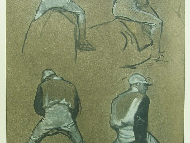 Edgar Degas, Four Studies of a Jockey for Racehorses before the Stands